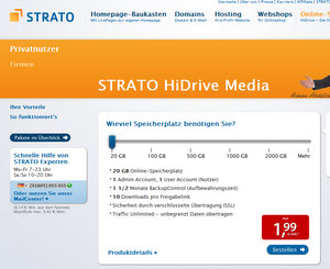Ideal für Schussel: Online-Festplatte Strato Hi-Drive Media